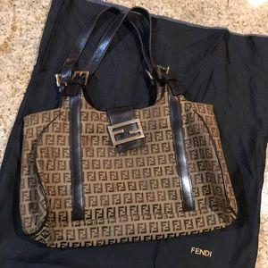 FENDI Zucca Monogram Brown Coated Canvas Handbag